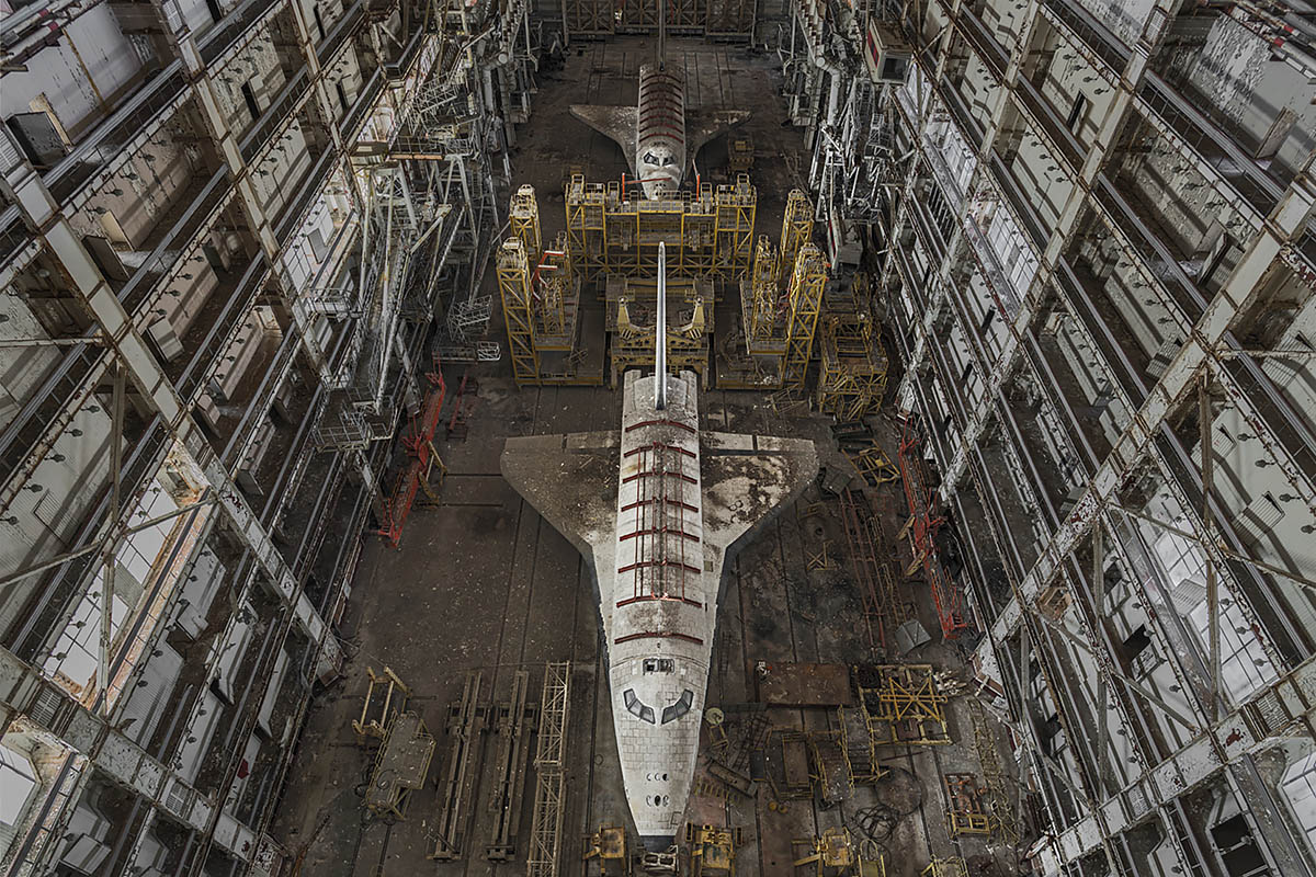 ptichka, space junk #15, kazakhstan, 2016 (the msk-80 was assembly and fueling hall. the prototype buran k2 was next to space when the program was cancelled in 1991)