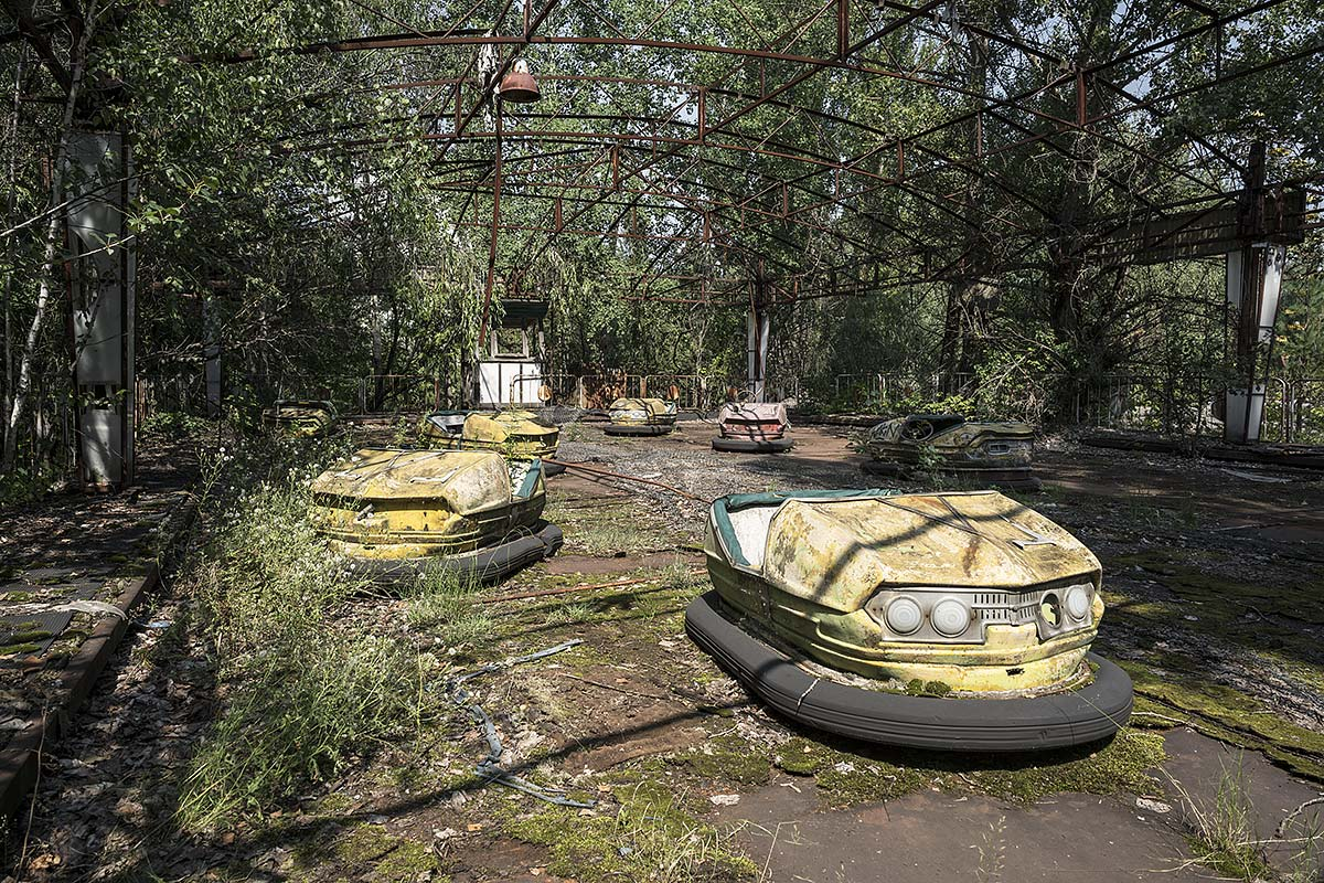 it was a pleasure #90, ukraine, 2017 (bumper cars in pripyat abandoned after the chernobyl desaster)